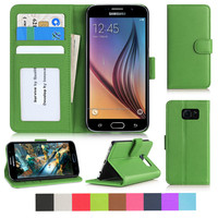 PU leather Flip Phone Case for Samsung Galaxy S6 with magnetic close and internal pockets