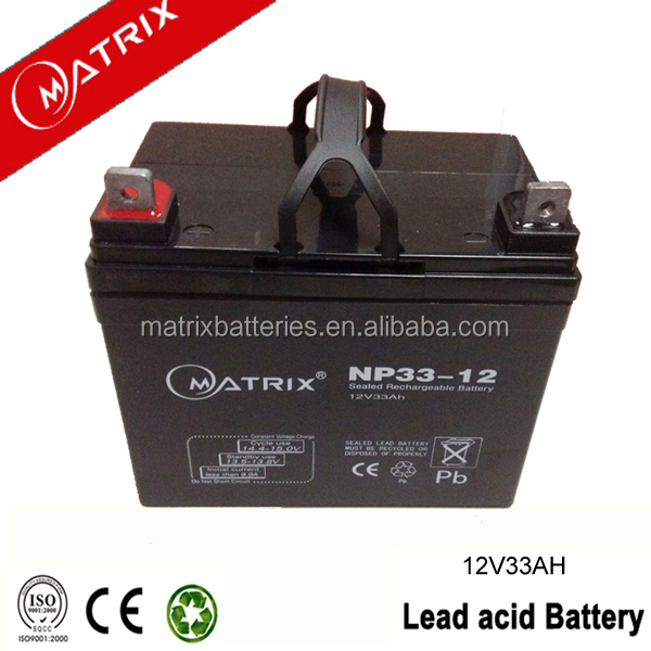 Sealed maintanence free 12v 33ah vrla battery for e-scooters