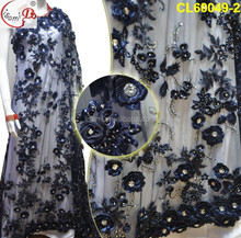 cl60049 new design hot style 3D flower gold net USA ladies lace for UK, women evening party dress /cloth polyeaster material