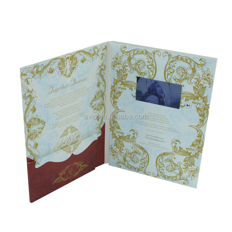 CMYK printing video booklet , lcd video mailer for wedding Invitation gift