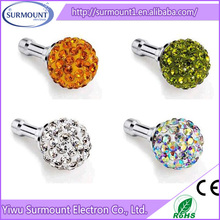 Hot Sale Colorful diamond ball dustproof plug Phone anti dust plug For Samrtphone