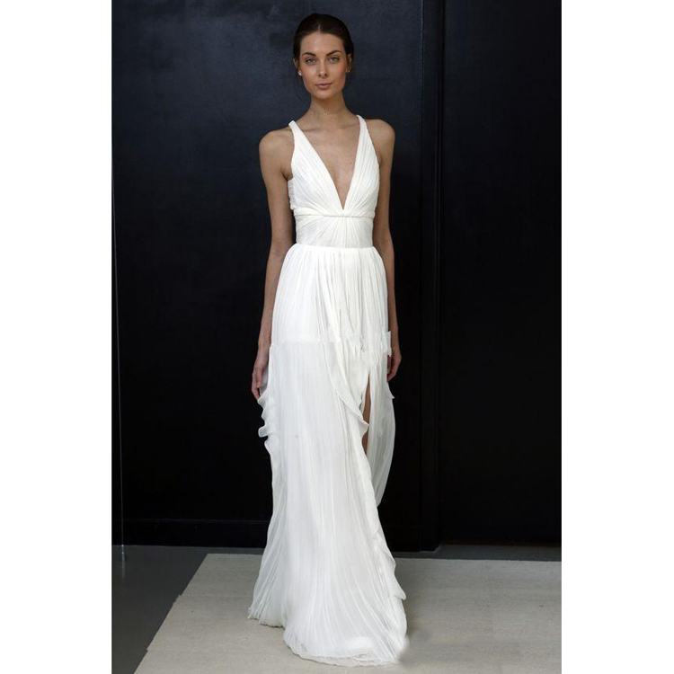 2018 Modest Simple Beach Wedding Dress Greek Slit Bohemian Cheap
