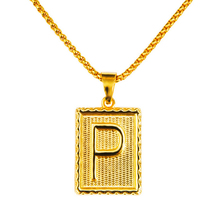 Golden Hip Hop Initial P Dog Tag Pendant With Rround Box Chain