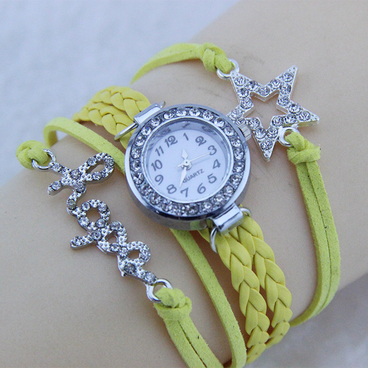 YELLOW Lady Round Crystal Dial Women Watch Leather Strap