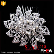 Factory Directly Bridal Hair Comb Diamond White Flower & Freshwater Pearl Hair Comb with Silver Pave Rhinestone Leaves