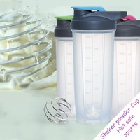 500-700ml sports shake protein powder with Stainless steel Stirred ball single wall leakproof Rocking simple shaker cup