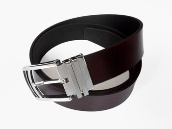 Two Tone Dark Brown 3.3cm Pin Buckle Genuine Leather Belt