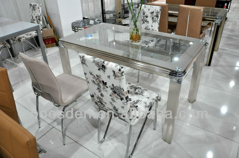 Glass Top with Wooden Base Dining Table BSD-35043