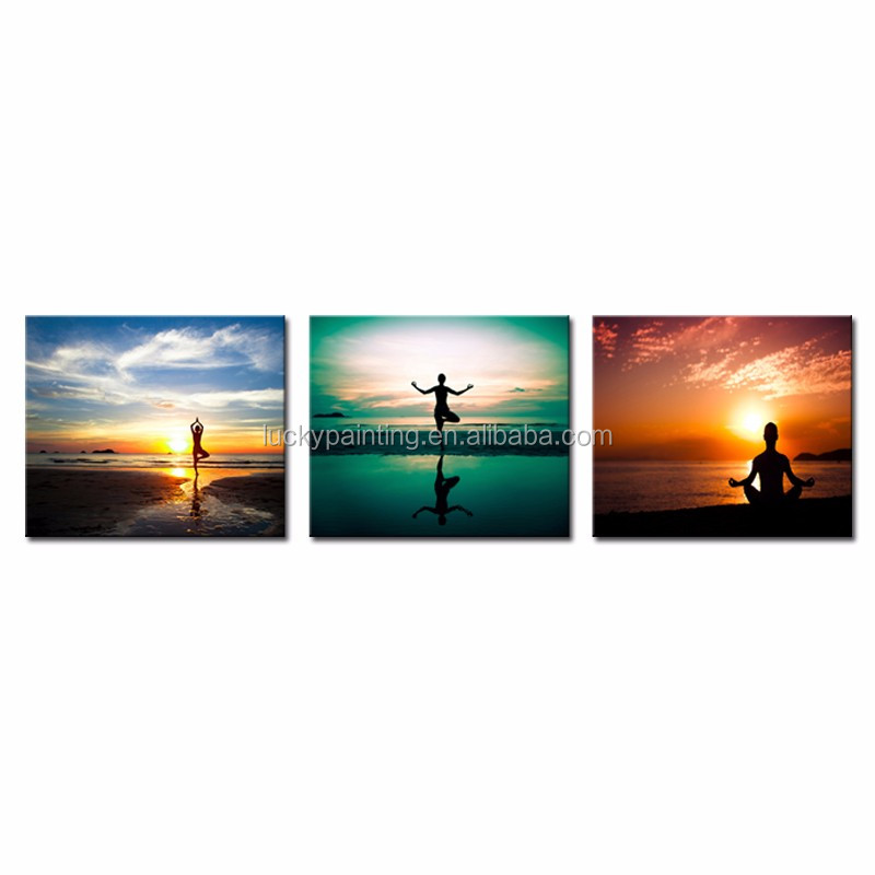 LK3238 3 Panels Combination Oil Painting Person Do Yoga Exercise On The Beach Sunset Seascape Wall Art Modern Pictures Print On