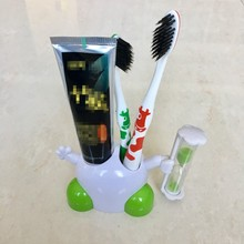 Three minutes hourglass timer toothpaste dispenser toothbrush holder