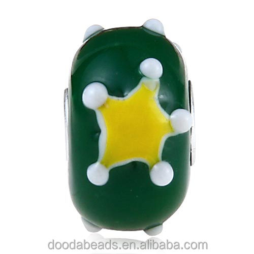 Environmental Handmade Christmas Star Glass Beads in 925 Silver Core