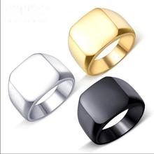 Nordic Simple Titanium Steel Blank Surface Fine Polishing Square Couple Ring for Men