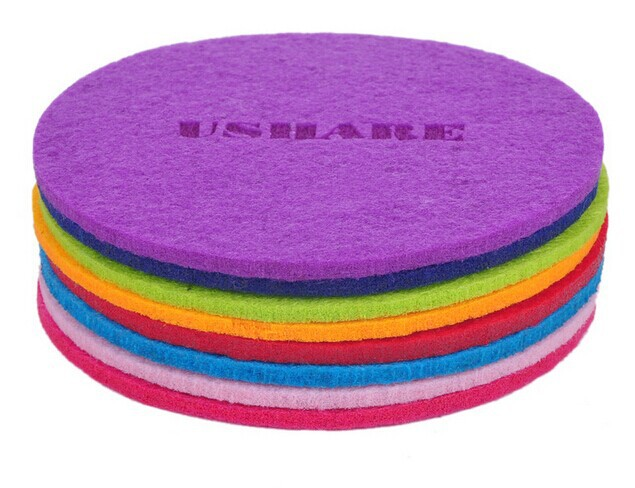 Hot polyester mat leather cup coaster with fashion design