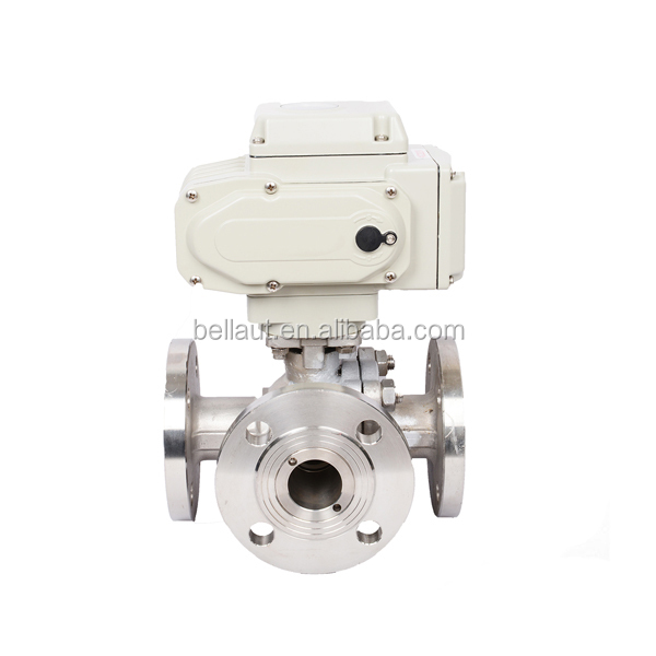 220V Motorized 3-way four hole flange Ball Valve