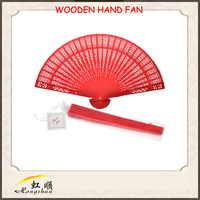 red chinese traditional handcraft wooden hand fan for gifts hand fans for sale