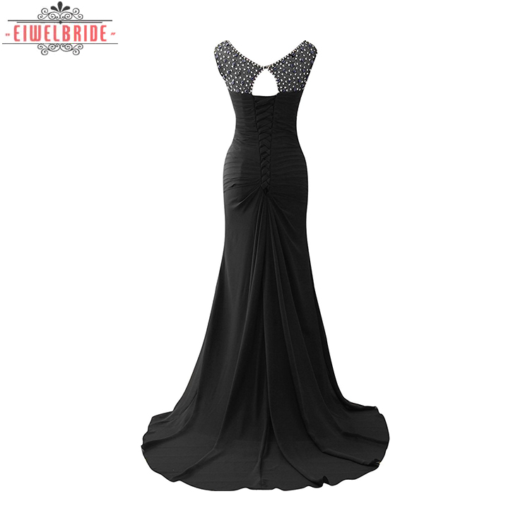 Black beaded Column women party dress