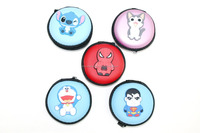 cute silicon cartoon color earphone eva case with zipper closed