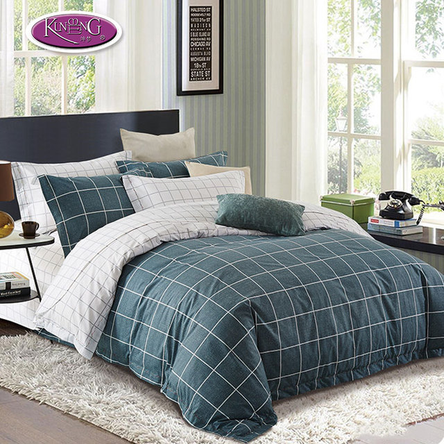 Full size boys bedding set lattice printed 100% cotton bed sheet in china