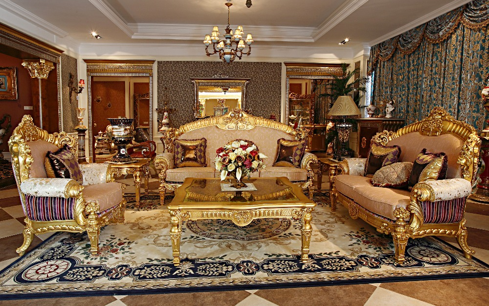 luxury french rococo wood carved goldleaf living room sofa