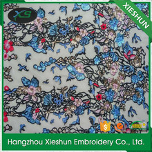 New design high quality wholesale colourful mesh sequin fabric embroidery dress lace for lady dress garment