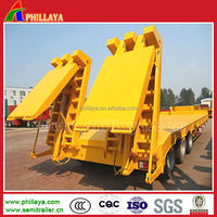 low-bed truck semitrailer / step wise lowbed semi trailer 60T Hydraulic ladder low bed semi-trailer /