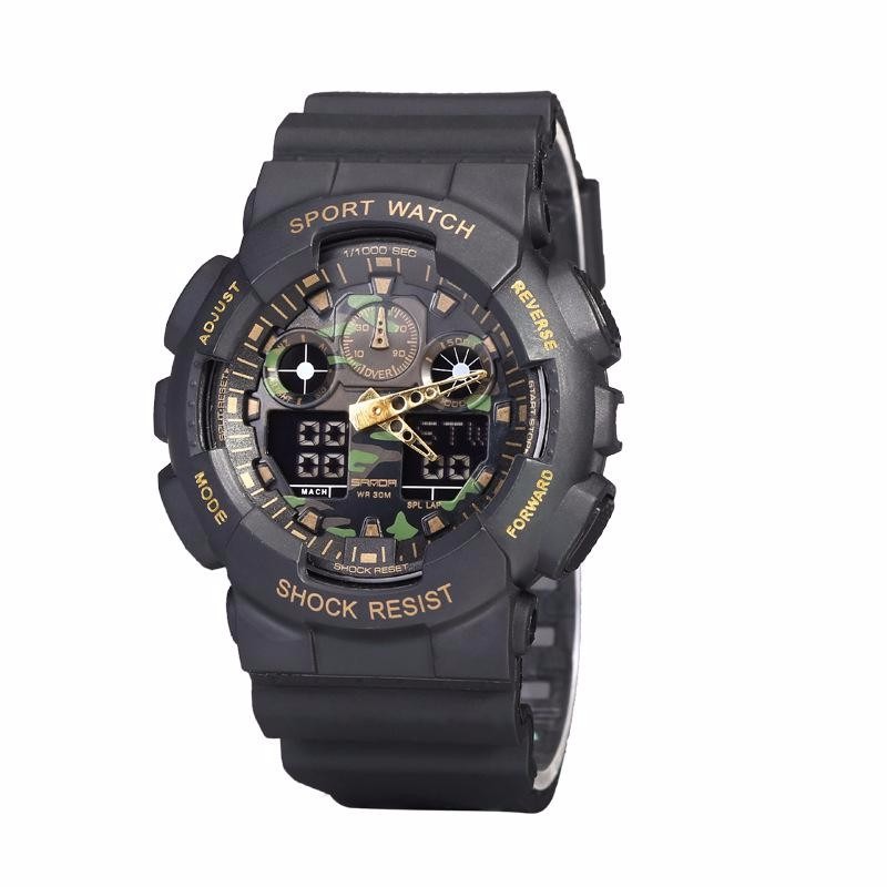 SD 199 Sports Double Movement Dual Display Electronic Watch Male Camouflage Table Man' s Wristwatch LED Running Climbing Gifts
