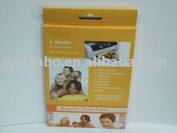 "4"" X 6"" Magnetic photo paper & Fridge magnet (5 sheets/pack)"
