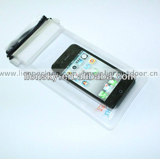wholesale custom Mobile phone durable lanyard PVC waterproof bag for iphone/samsung/htc pouch