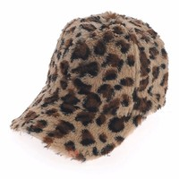 winter outdoor warm leopard baseball wool hunting hats