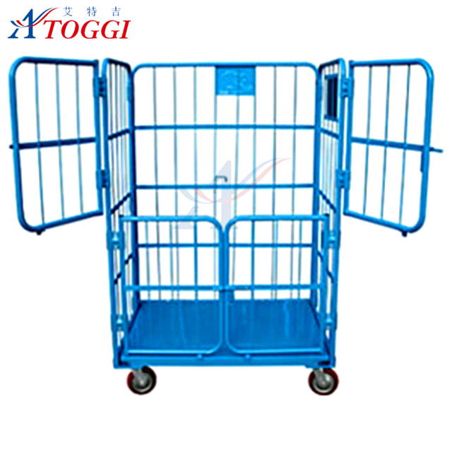 foldable enclosed wire mesh security rolling cage trolley