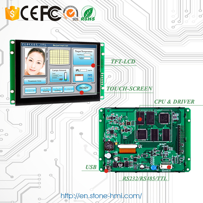 RS232/ RS485/ TTL/ USB port Embedded Programmable 5 inch LCD Module