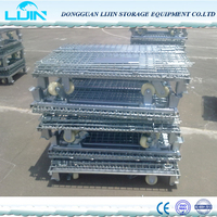 Warehouse folding storage wire steel basket cage