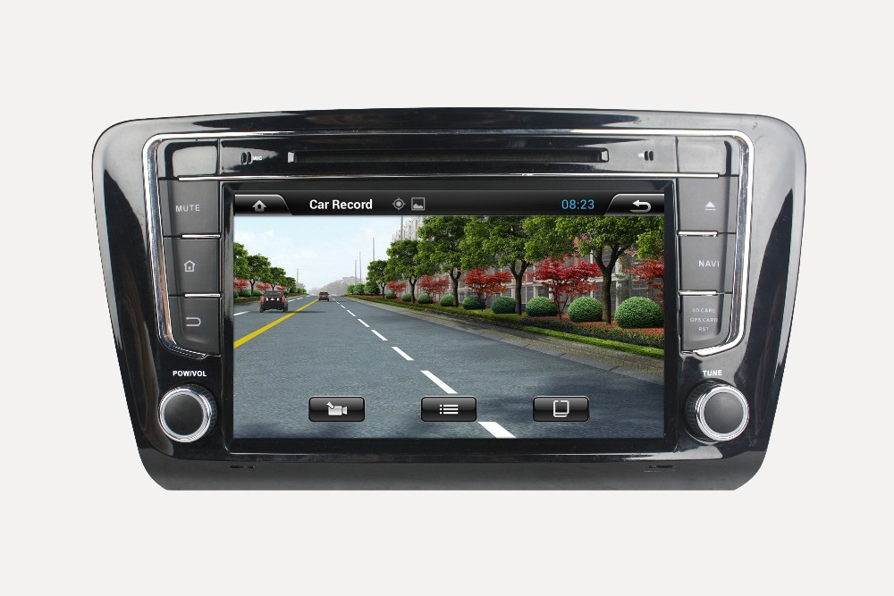 Touch screen car dvd player for SKODA OCTAVIA 2014 car dvd gps navigation with bluetooth+built-in gps