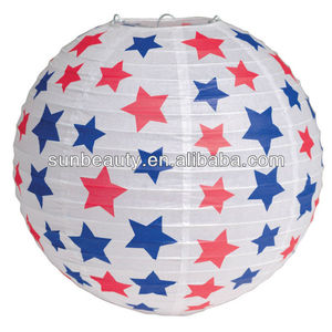 Chinese wholesale round ball paper lantern for patrotic decoration