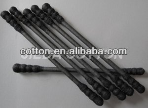 Black cosmetic cotton buds spiral tip