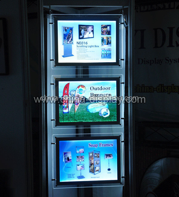 Hight brighness low power consumption single sided or double sided acrylic board lighted portable led light display case