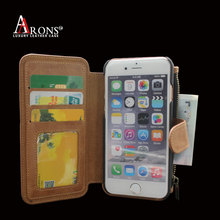 Book style stick on phone wallet leather case for iphone 6 with 3 credit card slot zip wallet