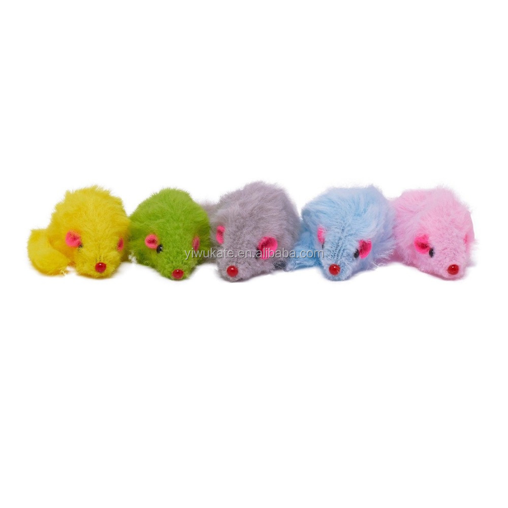 Mini Fleecy Rattle Plush Mouse Cat Kitten Toy Pet Toy For Cats Play Fun Pack 5 Mice *12 Colour Choices KA1556