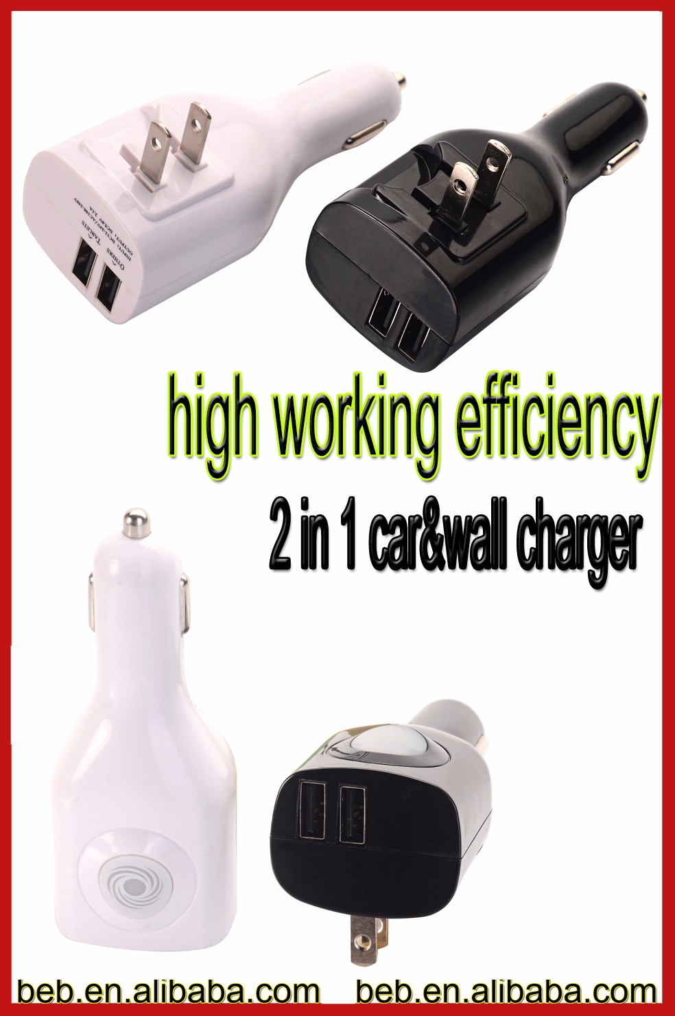 VI efficiency 2 in 1 car wall charger for iphone samsung usb wall and car charger on promotion