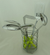 Stainless steel Cooking tools set with stand/ Kitchen utensil set with holder
