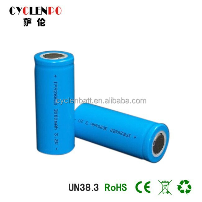 Factory price lifepo4 26650 rechargeable battery 3.2v 3000mah 3.2v 3ah lifepo4 battery cell