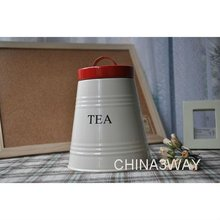 Stainless steel metal red coffee black tea suger canister
