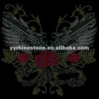 Guns with wings hot fix rhinestone