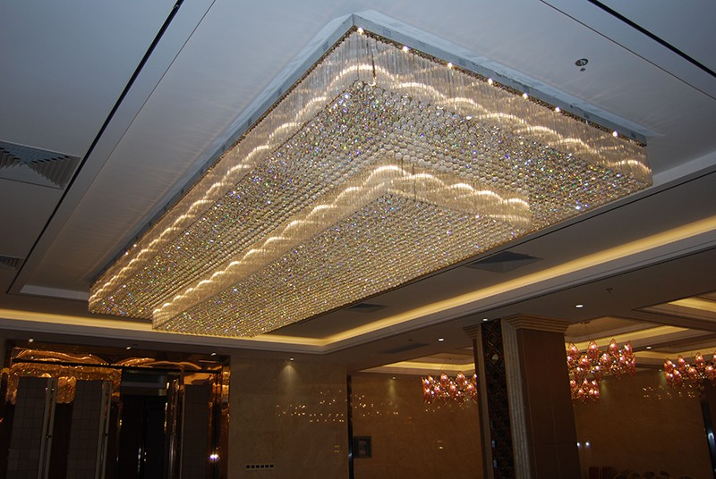 Modern Large ceiling mounted rectangle crystal chandelier for hotel