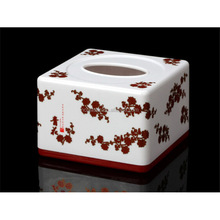 square plastic tissue case with flower printing