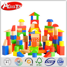 2016 new products attractive pattern wooden toy building blocks