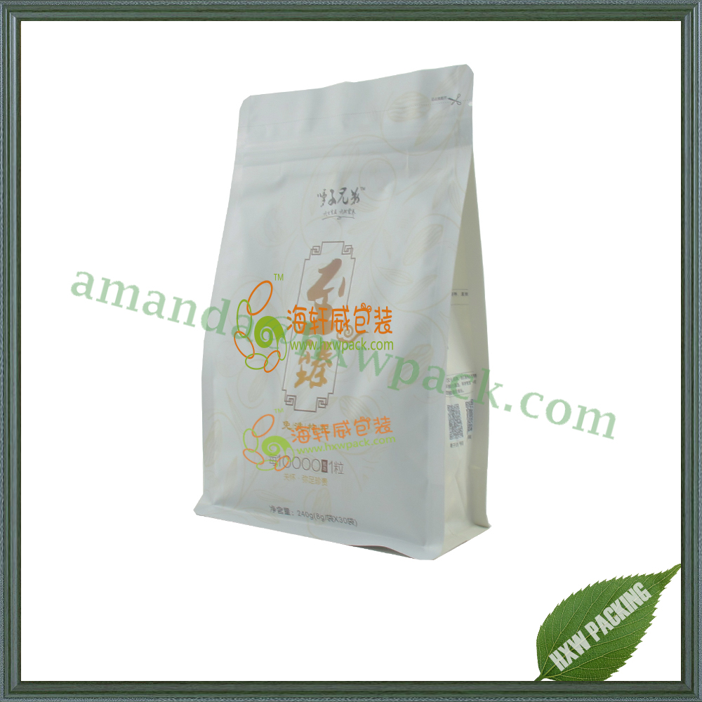 high quality printed matt white opp/foil/pe food ziplock bag degradable