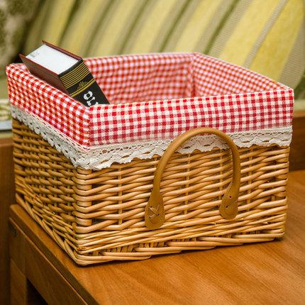 100% hand woven storage baskets, laundry baskets with lid and fabric lining
