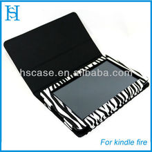 Zebra printing stand tablet leather case cover for amazon kindle fire