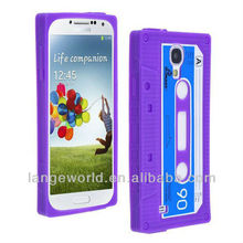 2013 New Arrival Purple Retro Stylish Pattern Cassette Tape Soft Gel Silicone Case Cover For Samsung Galaxy S4 I9500
